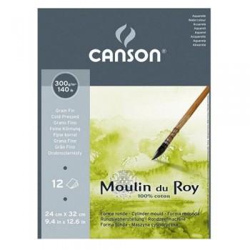 Bloc Encollado 12H Canson Moulin du Roy 100% Algodón 300g/m2