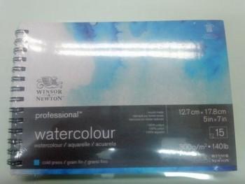 W&N ACUA. PRO. BLOC ESPIRAL 12,7X17,8cm FINO 15H 300g 100% ALG.