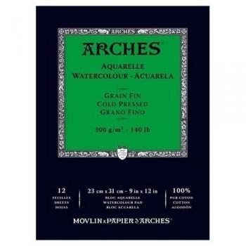 Bloc Arches Acuarela Encolado 1 lado 12H 100% alg. 300g G. fino