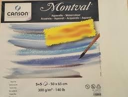 Pack 10H 65x50 Canson Montval Fino 300g acuarela